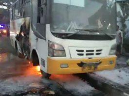 Kondisi bus Kawan Kita yang terbakar