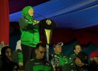 Gubernur Jawa Timur, Khofifah Indar Parawansa dalam sambutannya di Pembukaan Porprov VI Jatim