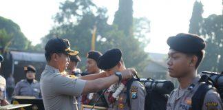 Polres Kediri berikan apresiasi anggota BKO Pam TPS Pemilu 2019 di Jakarta di Mapolres Kediri.